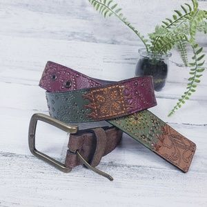 Fossil Genuine Leather Patchwork Style Belt